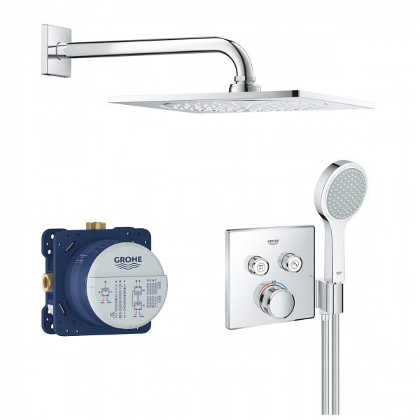"""Grohe Grohtherm SmartControl Duschsystem mit Thermostat & Rainshower F-Series 10"""" Kopfbrause"""